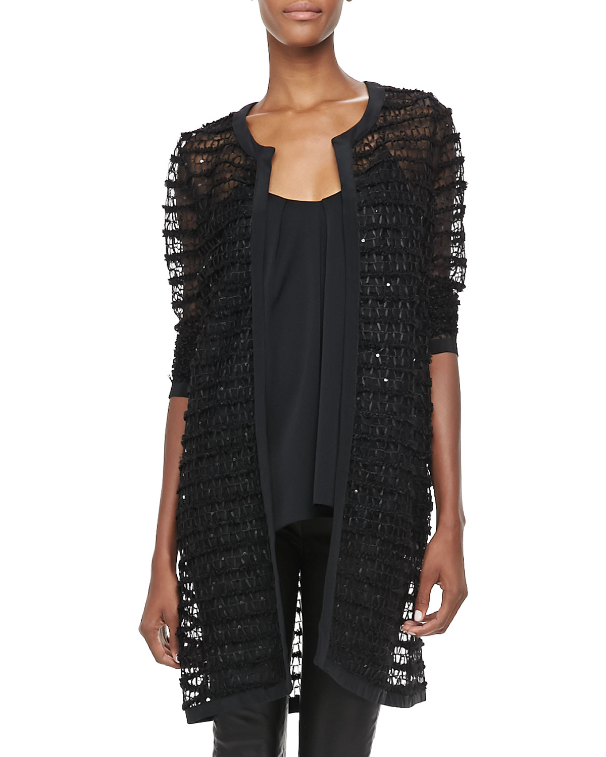 Milly Long Sheer Lace Jacket in Black | Lyst