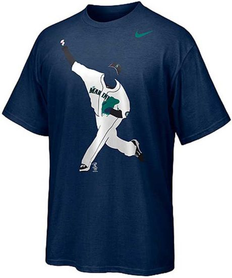 Nike t shirt in blue for men navy lyst for Navy blue and white nike shirt