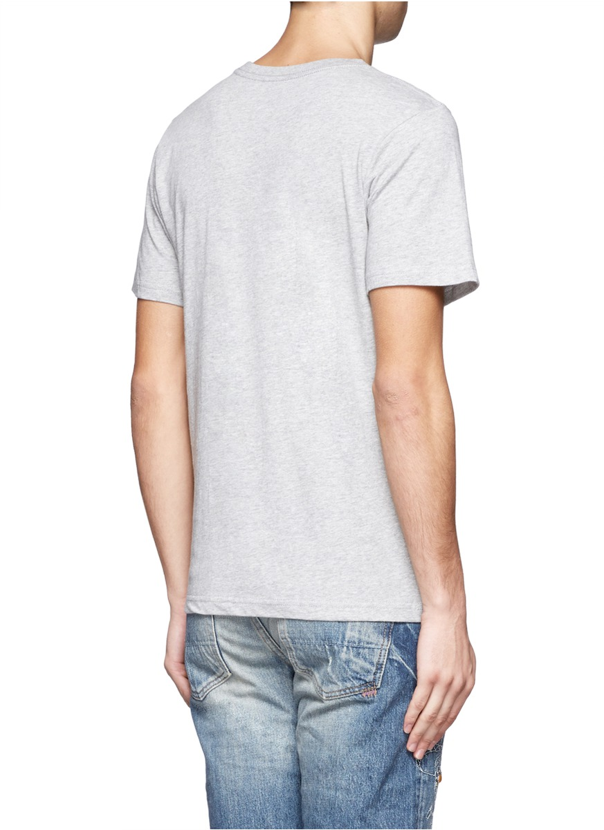 saturdays nyc reversed slash print tshirt in grey gray for men lyst. Black Bedroom Furniture Sets. Home Design Ideas