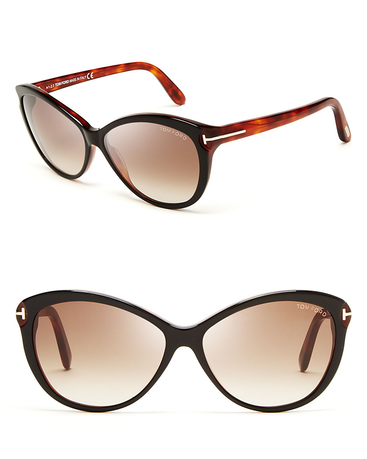 tom ford telma cat eye sunglasses in animal shiny black havana. Cars Review. Best American Auto & Cars Review