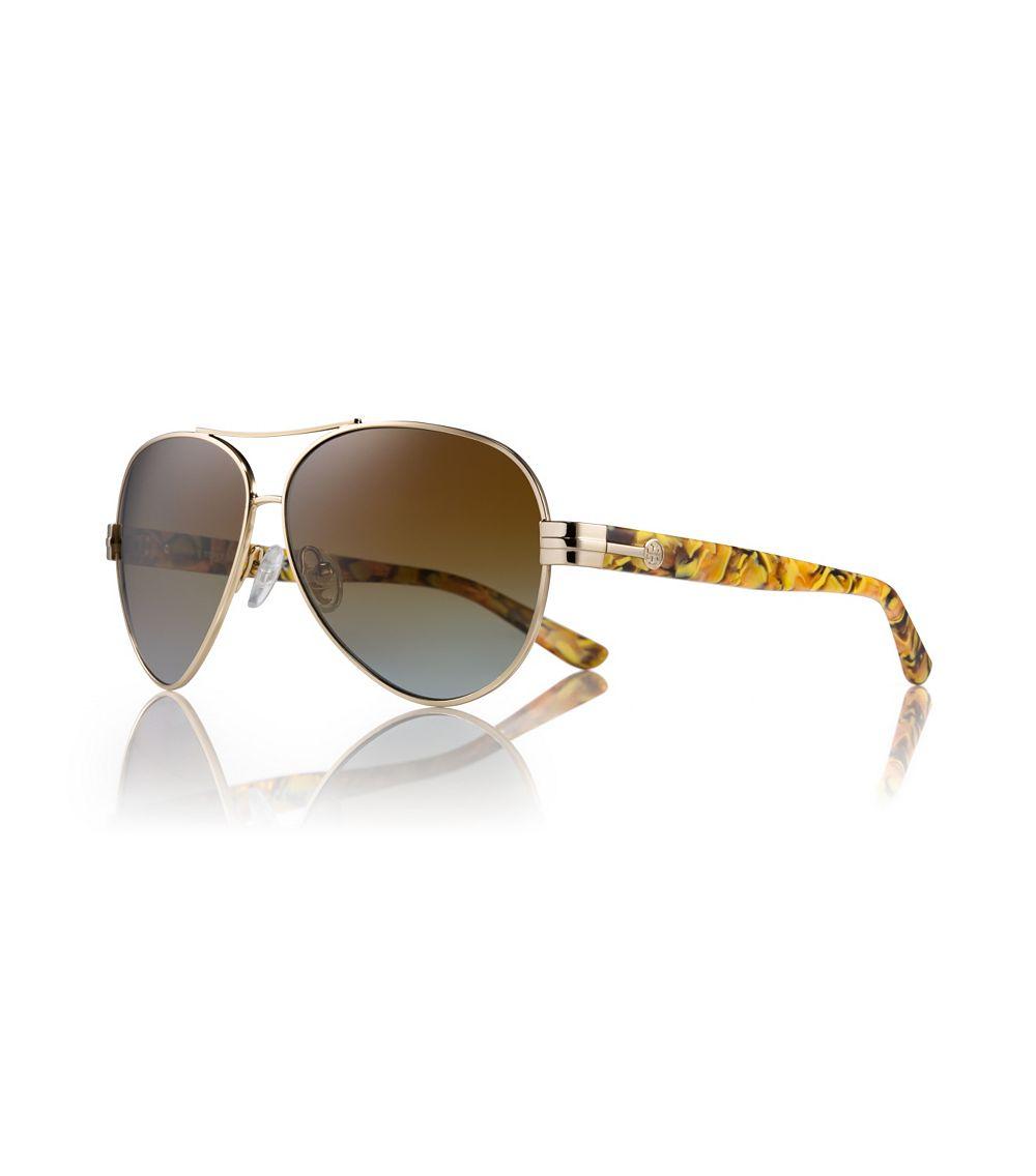 Tory Burch Printed Aviator Sunglasses In Brown Lyst