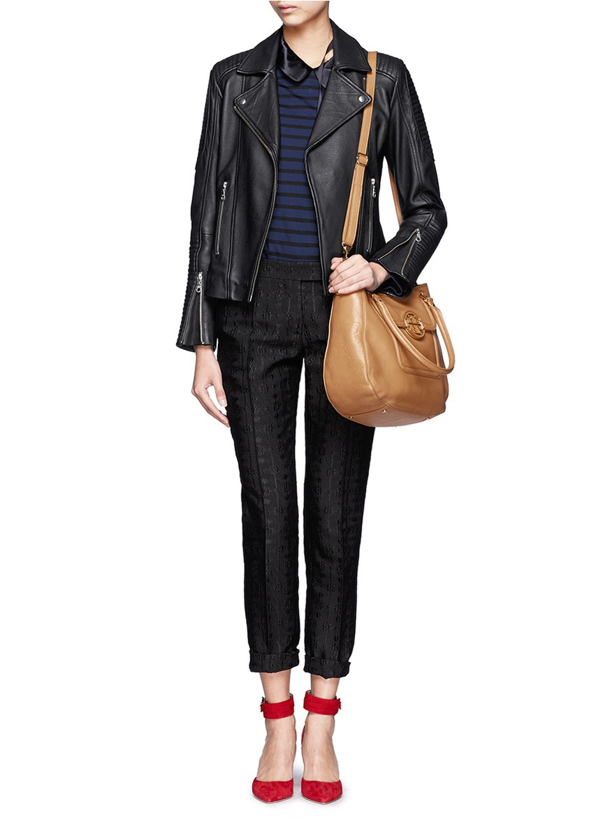Tory burch Amanda Classic Handle Hobo Bag in Brown | Lyst