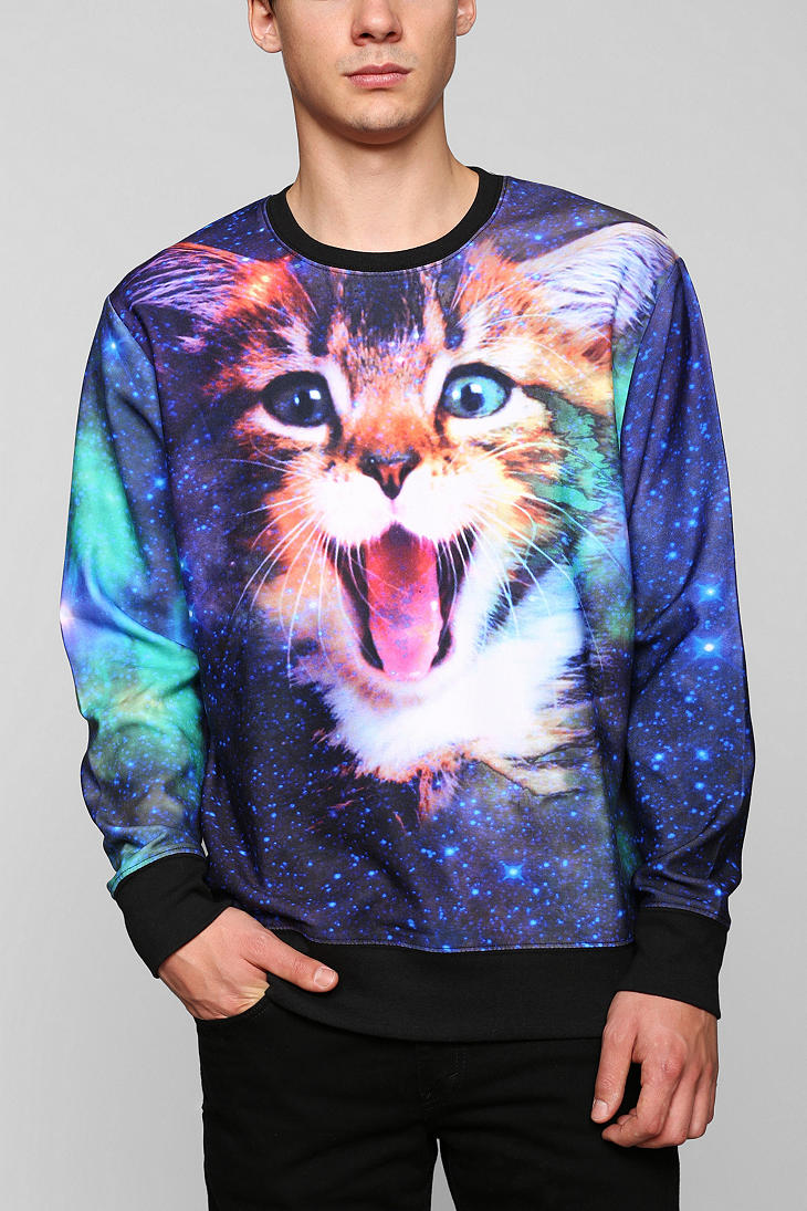 Lyst urban outfitters cat in space pullover sweatshirt for Lucky cat shirt urban outfitters