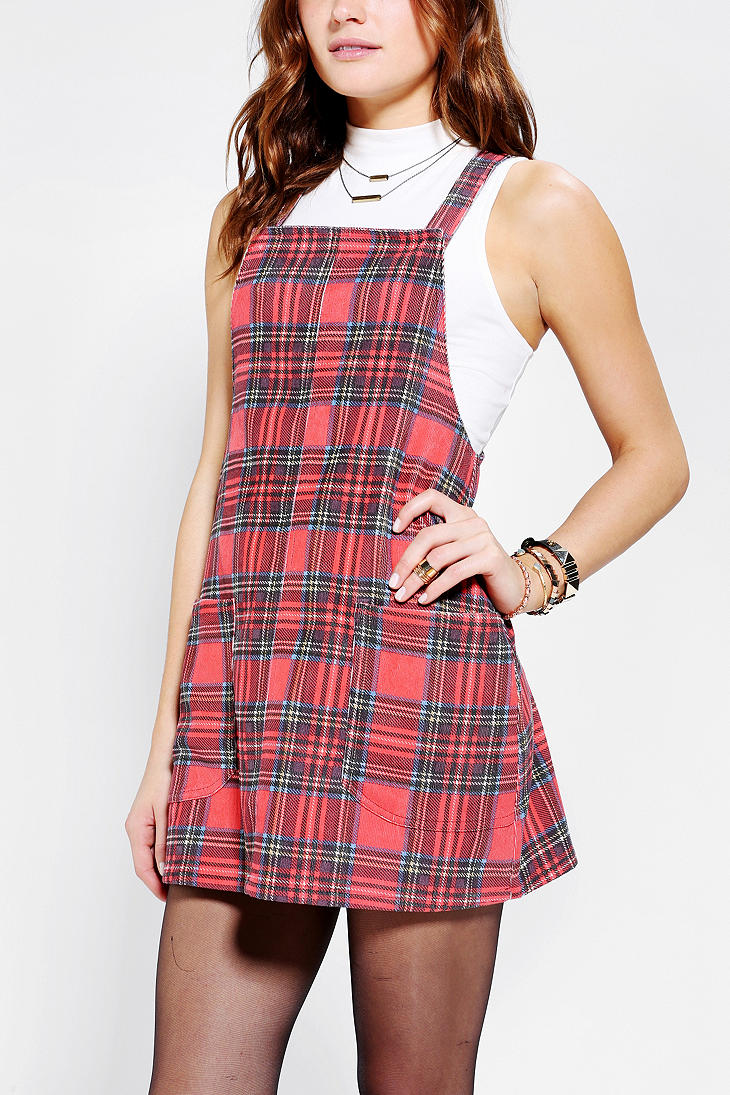 Urban Outfitters Minkpink Education Plaid Corduroy Dress