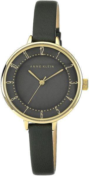 Anne klein ladies goldtone watch with dark gray dial genuine leather strap in black grey lyst for Anne klein leather strap