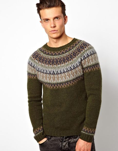 Asos United Colors Of Benetton Sweater with Fairisle in Green for Men
