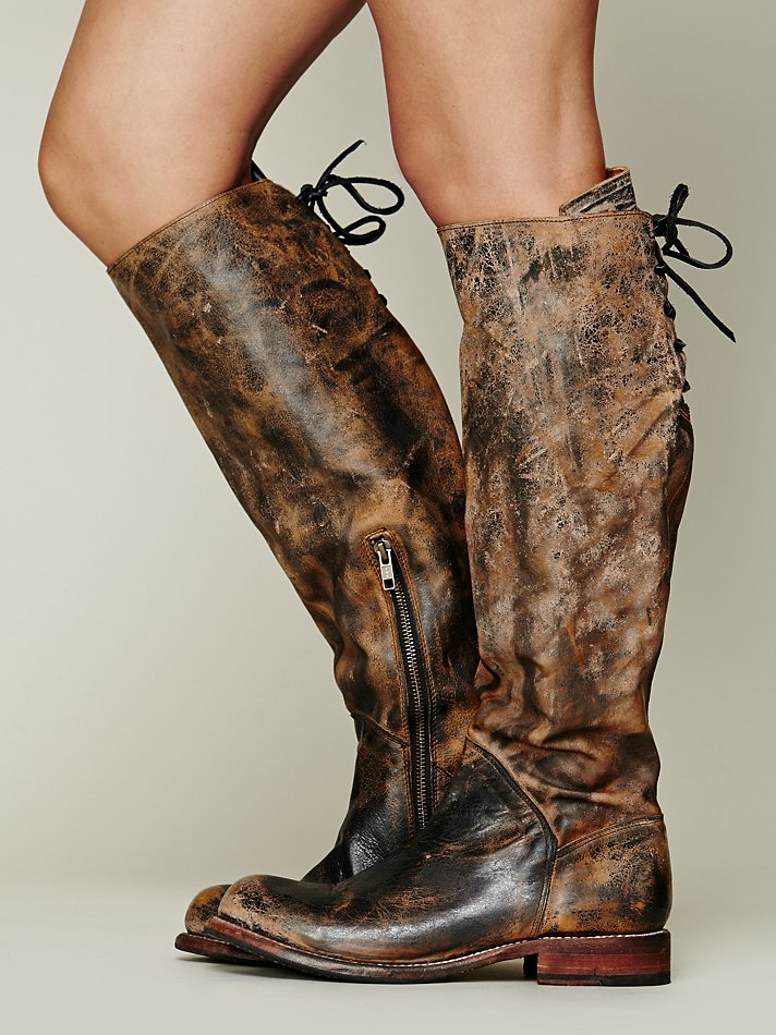 bed stu manchester laced back knee boot in brown black