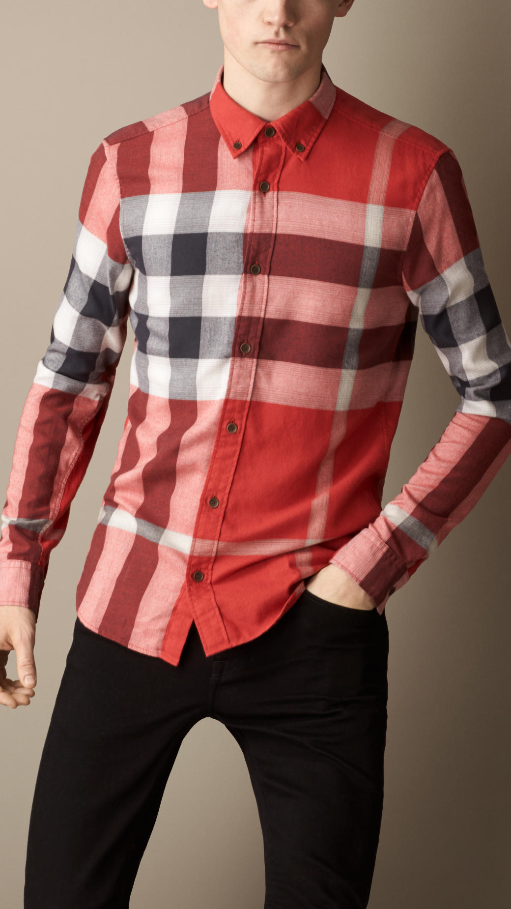 Burberry Exploded Check Flannel Shirt In Red For Men Lyst