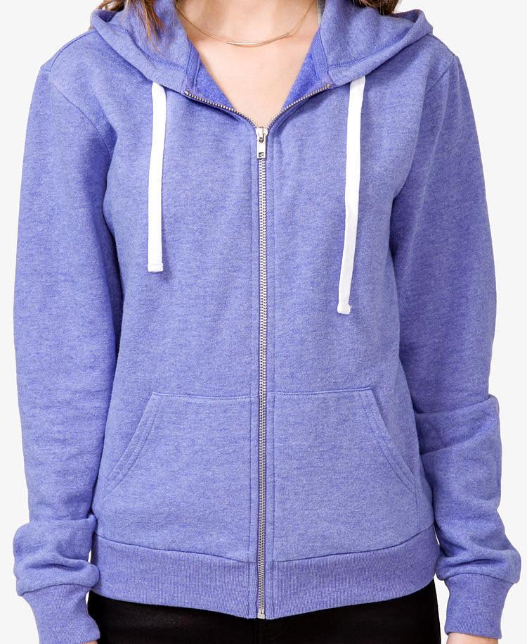 Forever 21 Solid Zip Up Hoodie Jacket In Purple Lyst