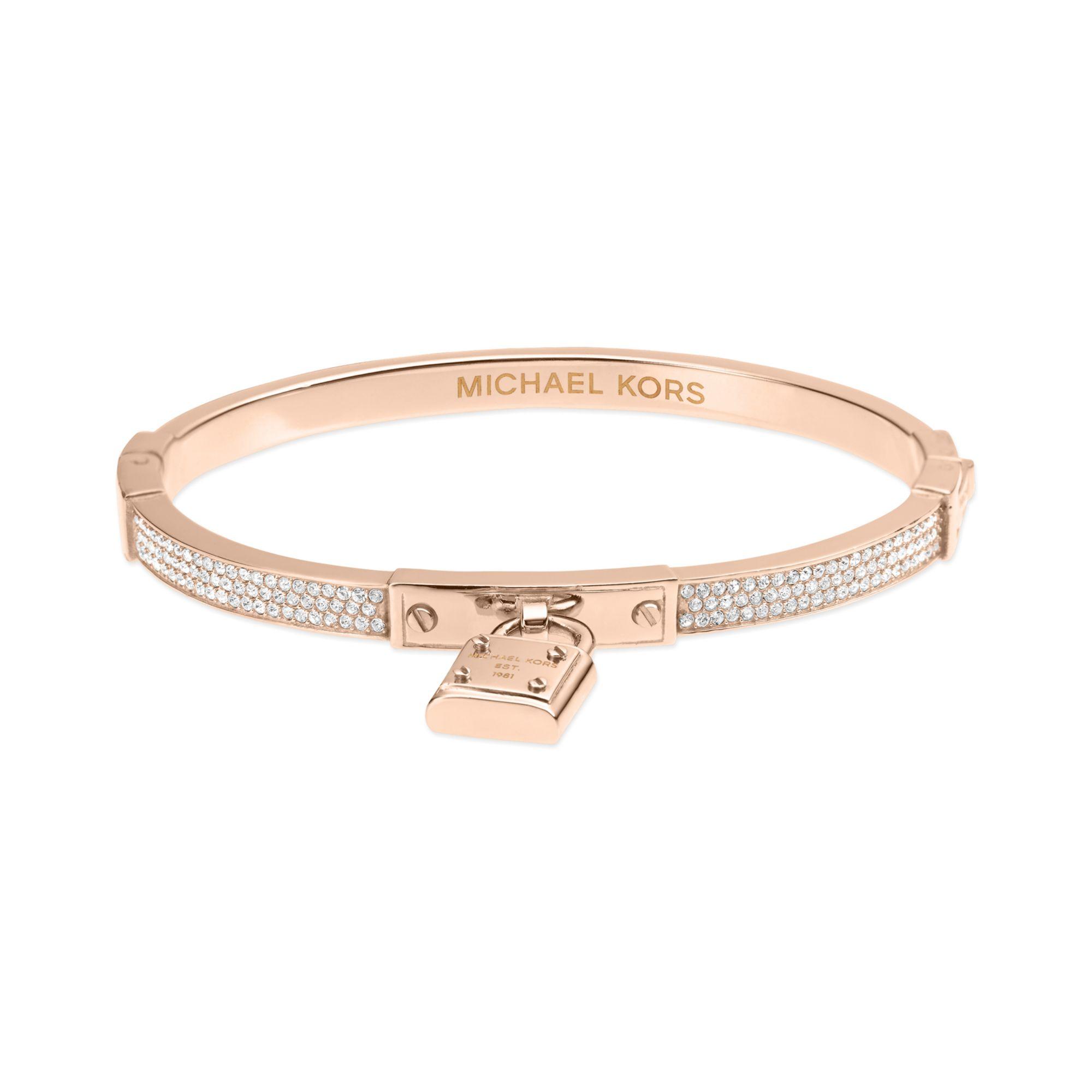 michael kors rose gold tone padlock charm bracelet in pink. Black Bedroom Furniture Sets. Home Design Ideas