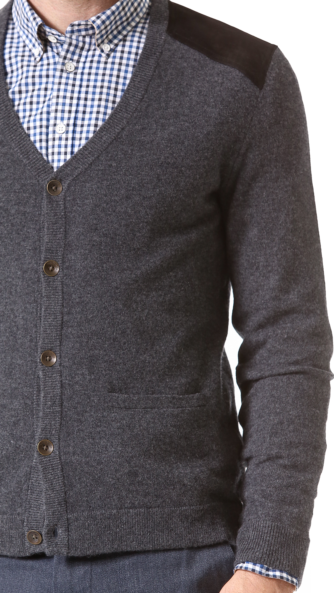 Rag & Bone Zeeland Cardigan with Leather Trim in Charcoal (Grey) for Men