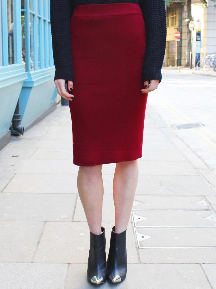 glassworks jersey pencil skirt in burgundy lyst