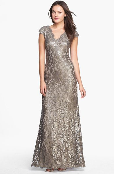 Tadashi Shoji Embellished Lace Gown in Gray (Smoked Pearl)