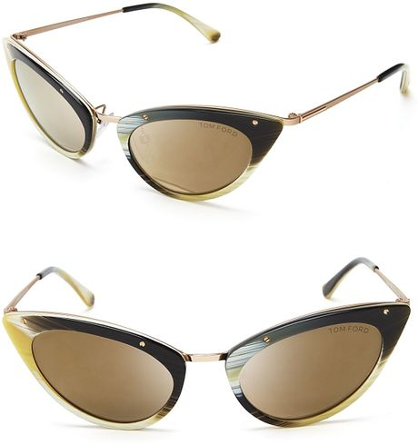 tom ford grace mirror cat eye sunglasses in black horn lyst. Cars Review. Best American Auto & Cars Review