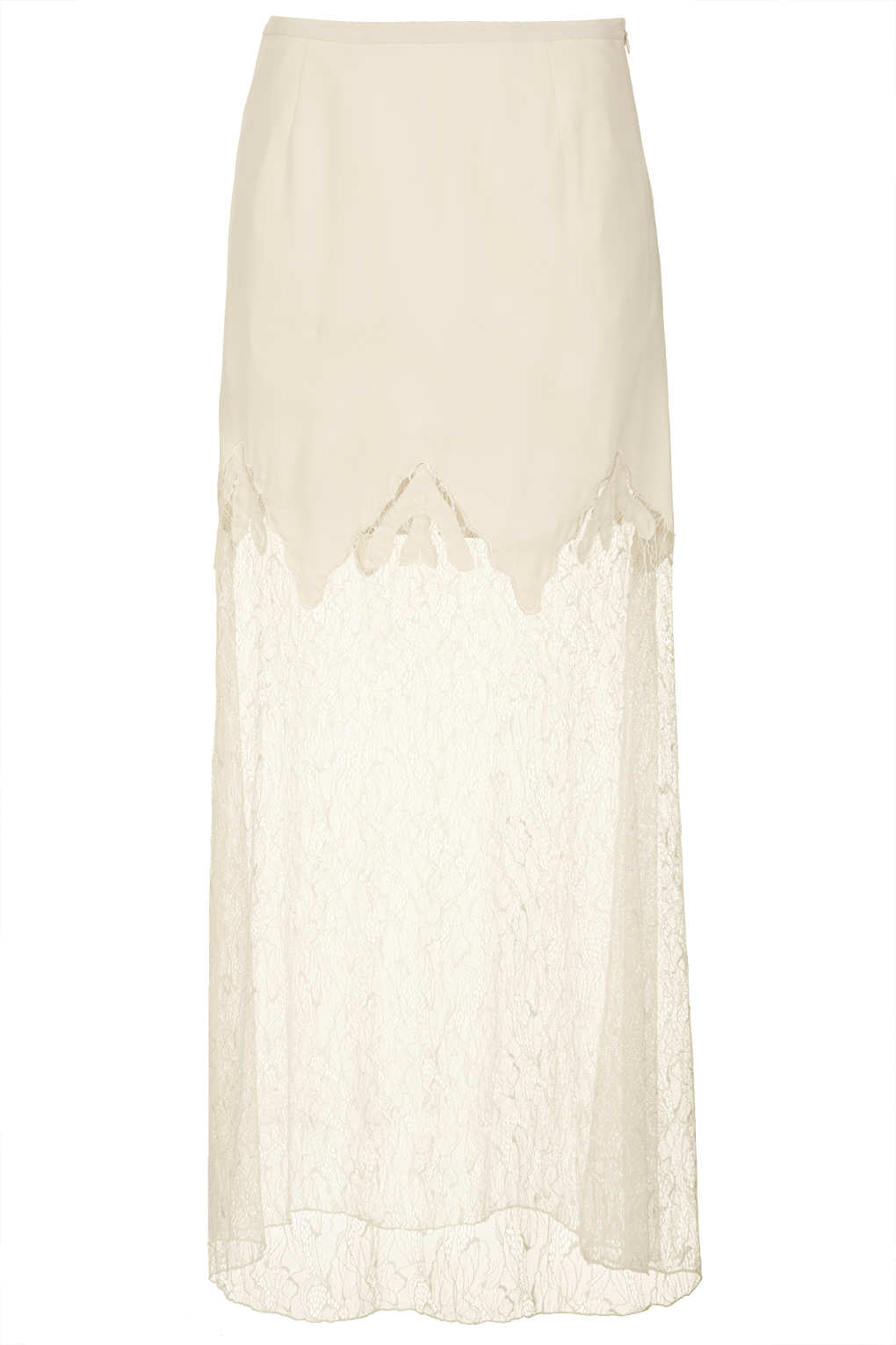 Topshop Cream Lace Maxi Skirt in Natural | Lyst