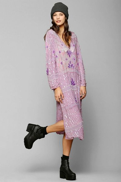 Urban Outfitters Vintage Boho Beaded Dress in Purple