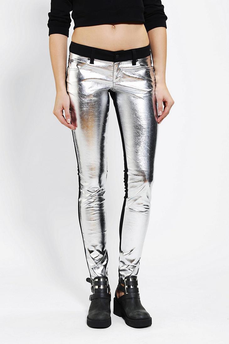 Urban outfitters Tripp NYCbl Metallic Split Skinny Jean in Black ...