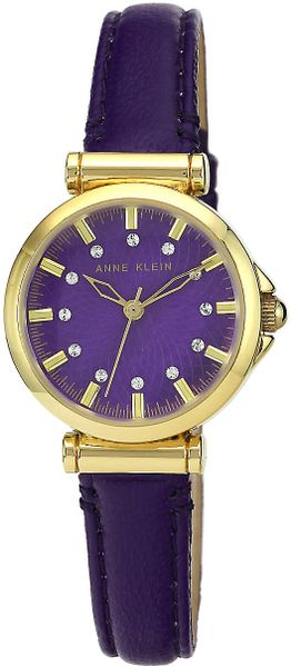 Anne klein ladies 39 gold tone purple watch with leather strap in purple lyst for Violet leather strap watch