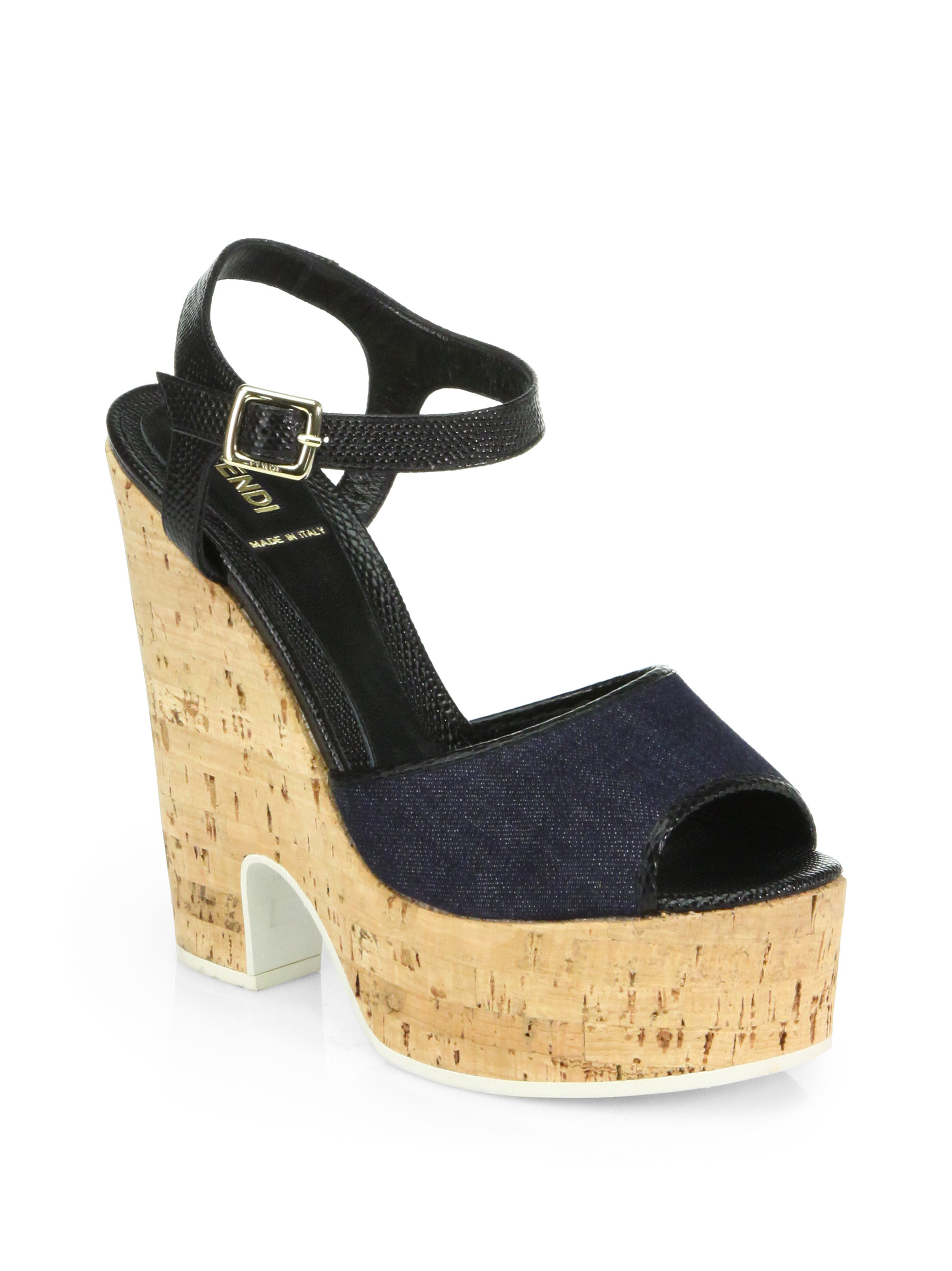 fendi cecilia denim cork wedge sandals in blue blue black