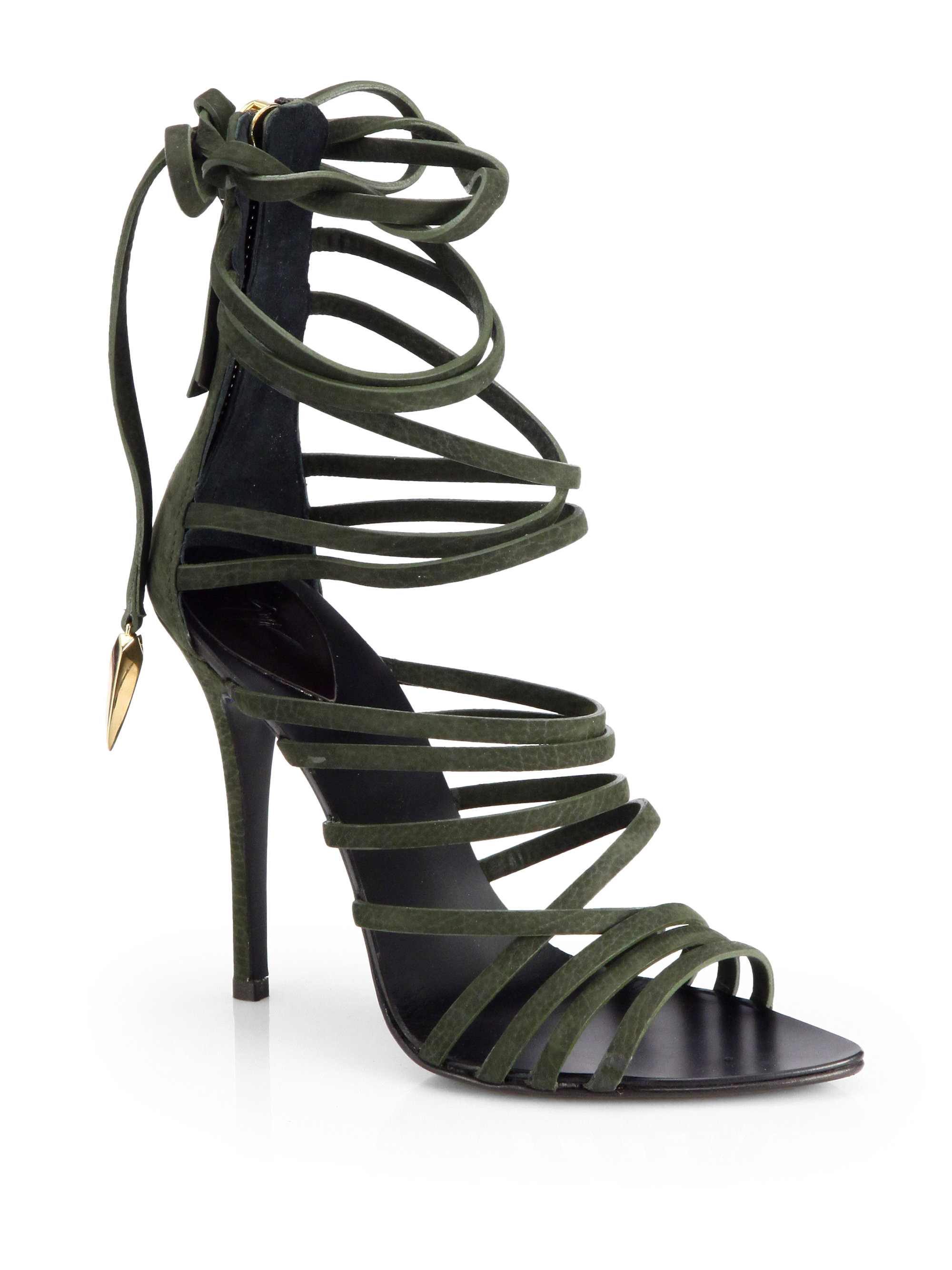 Giuseppe zanotti Leather Strappy Tieup Sandals in Green  Lyst