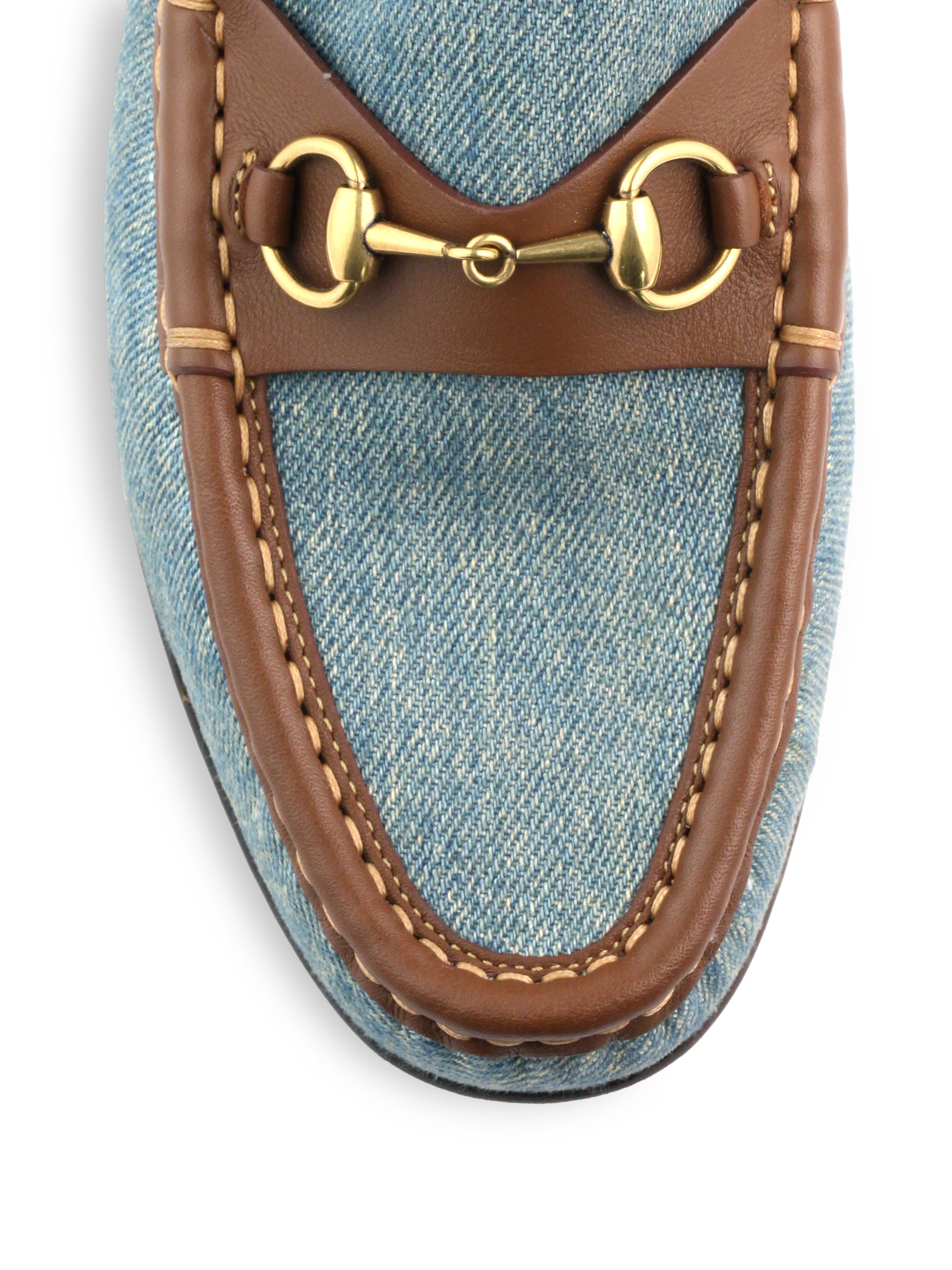 dbf807ce511 Lyst - Gucci Frame Denim Leather Horsebit Moccasin Loafers in Blue