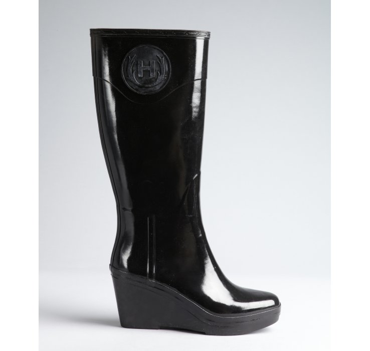 Hunter Black Rubber Champery Wedge Heel Rain Boots in Black | Lyst