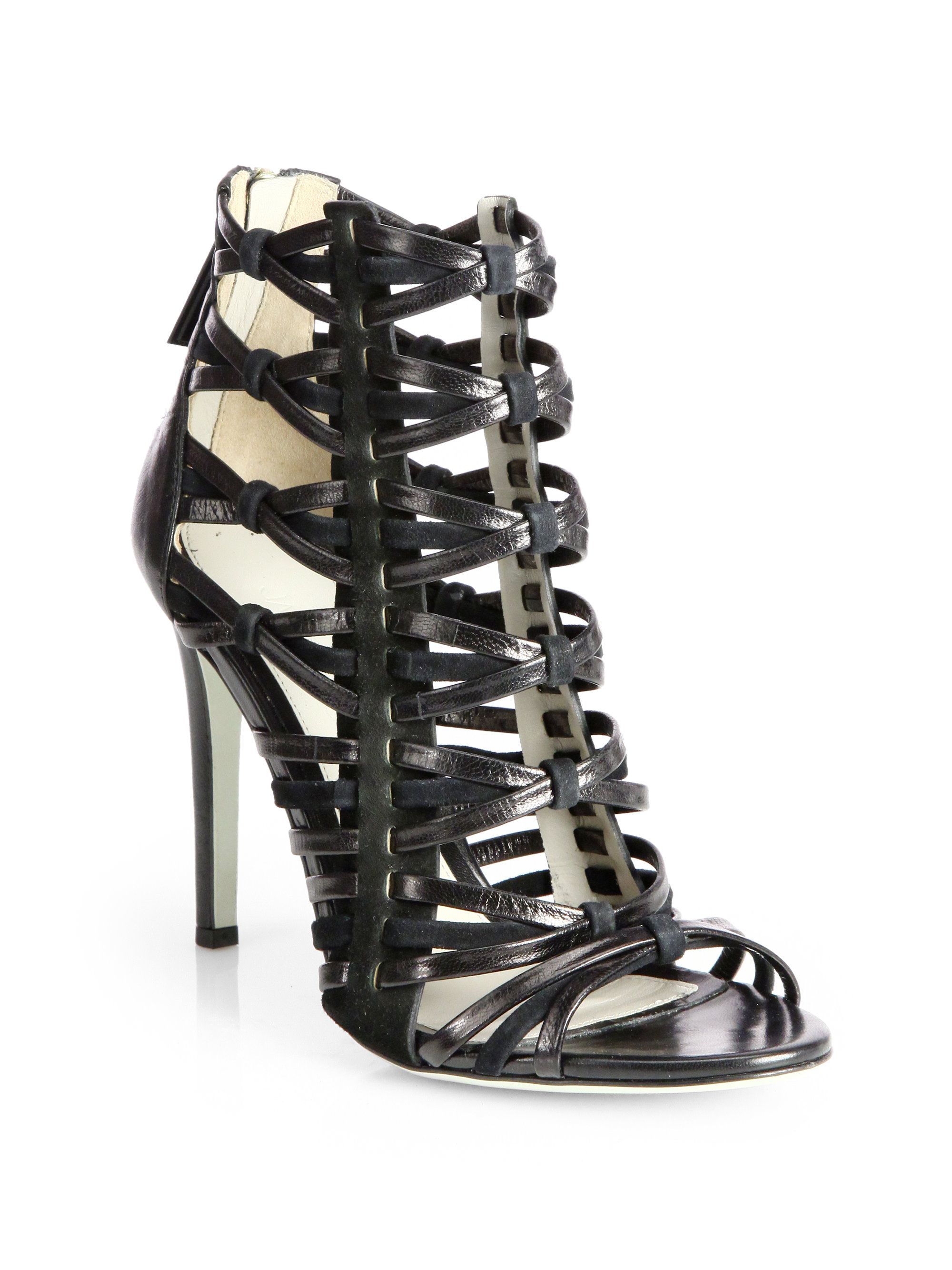 Jason wu Leather Suede Strappy Sandals in Black | Lyst