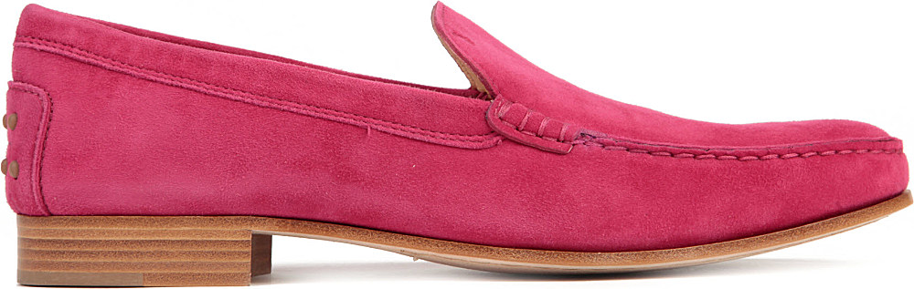 Tod's Cuoio Basso Suede Loafers in Fushia (Pink) for Men