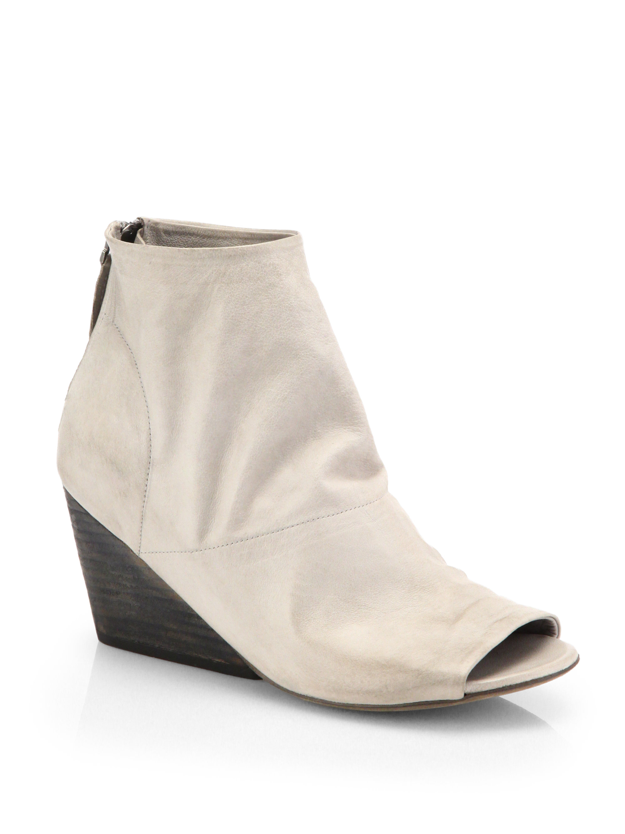 marsell suede peeptoe wedge ankle boots in white taupe