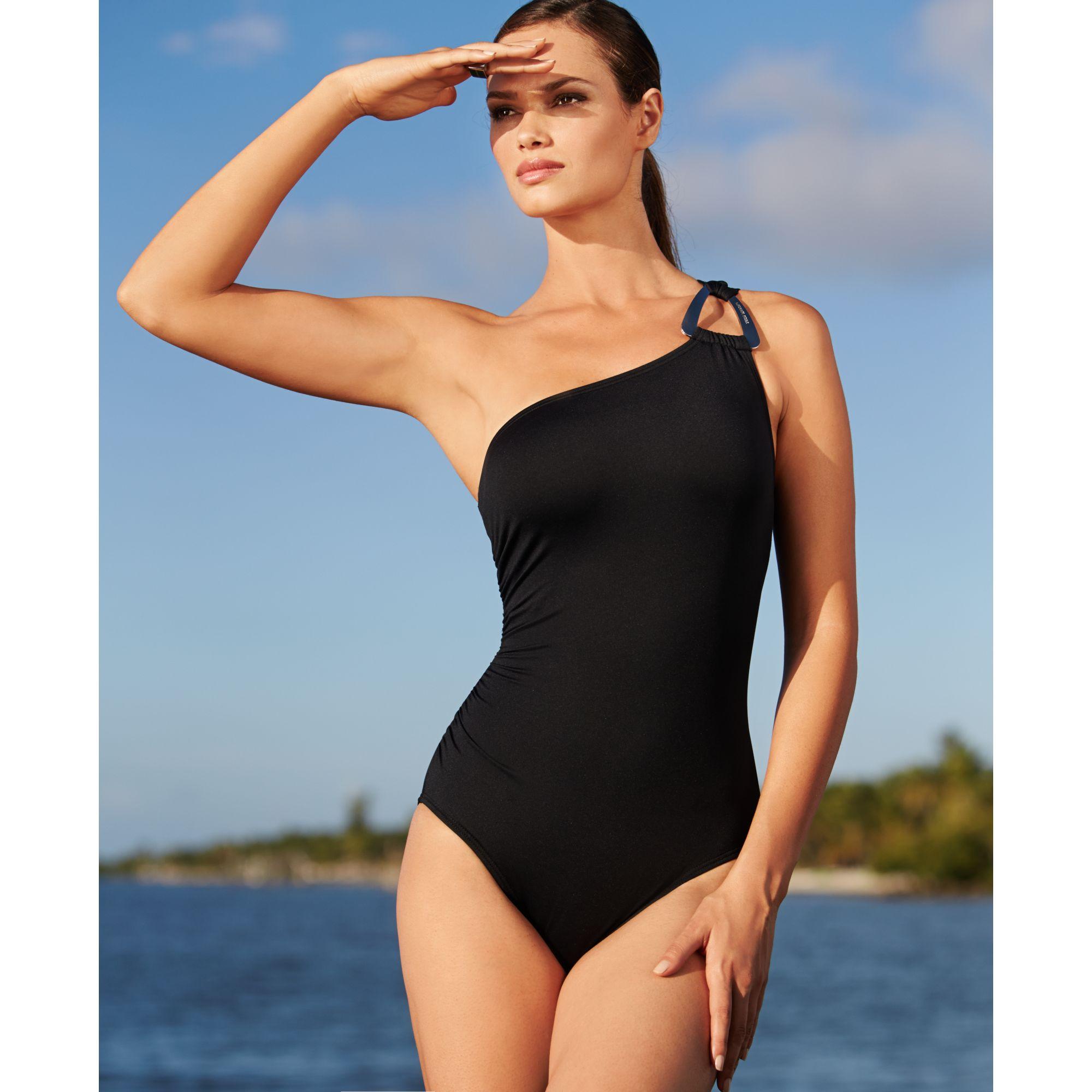 c555485d4be9a Michael Kors One Shoulder Swimsuit in Black - Lyst