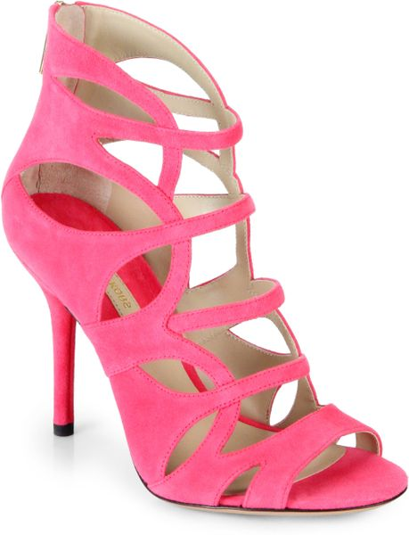 michael kors casey suede strappy sandals in pink