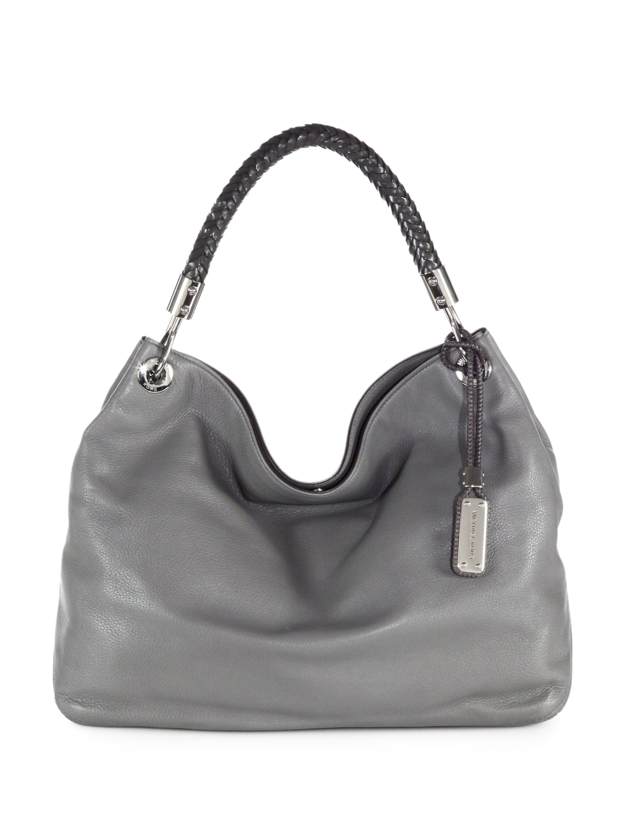 e112f4ab43d5 Michael Kors Skorpios Leather Shoulder Bag in Gray - Lyst