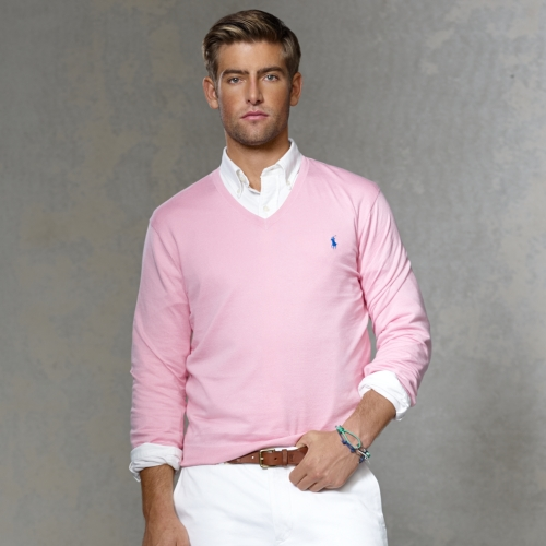 Polo ralph lauren Pima Cotton Vneck Sweater in Pink for Men | Lyst