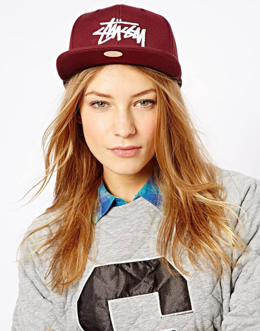 Lyst stussy classic stock snapback cap in purple jpg 870x1110 Women snapback  outfit 054c2620705f
