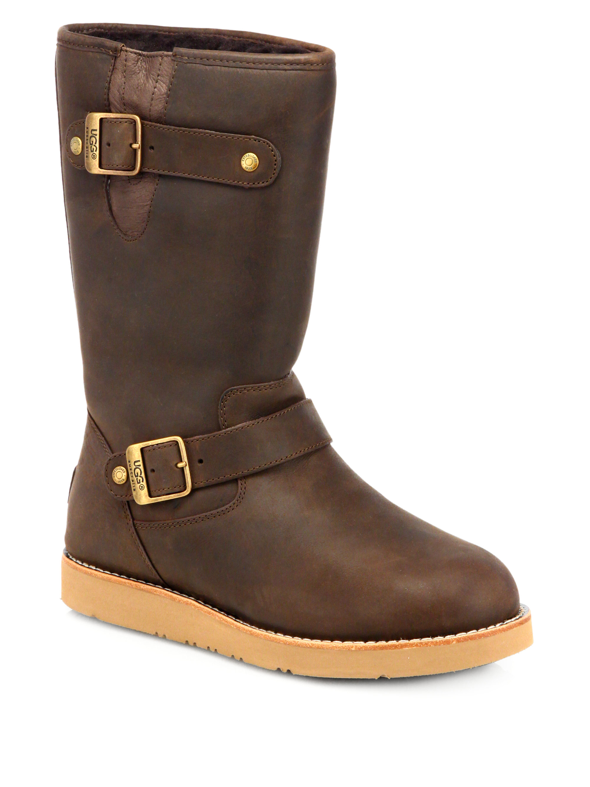 Ugg Kensington Leather Woollined Boots In Brown Lyst