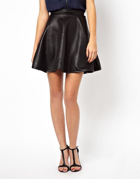 asos warehouse quilted leather look skater skirt in black