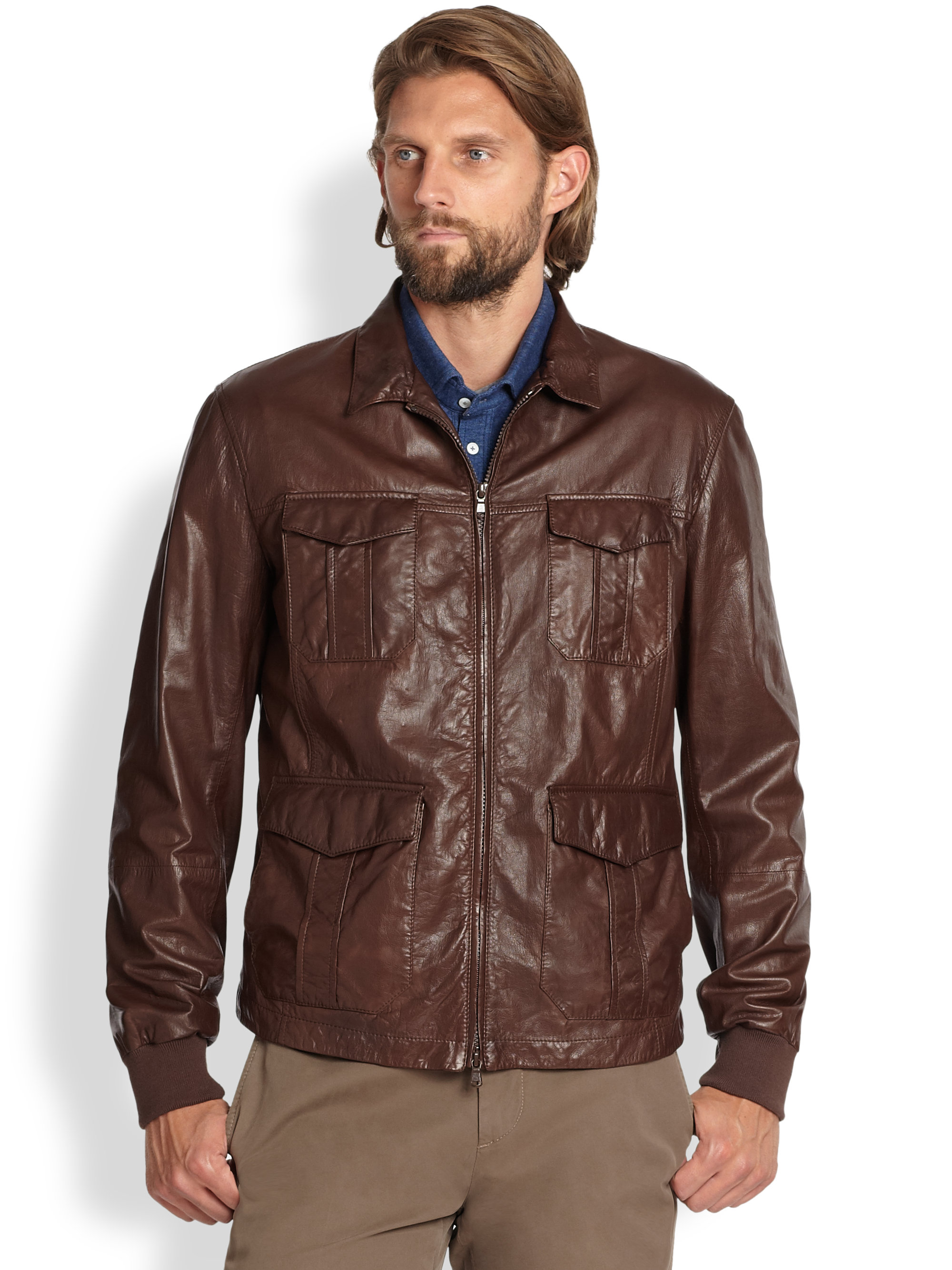 Brunello Cucinelli Sahara Leather Jacket In Brown For Men