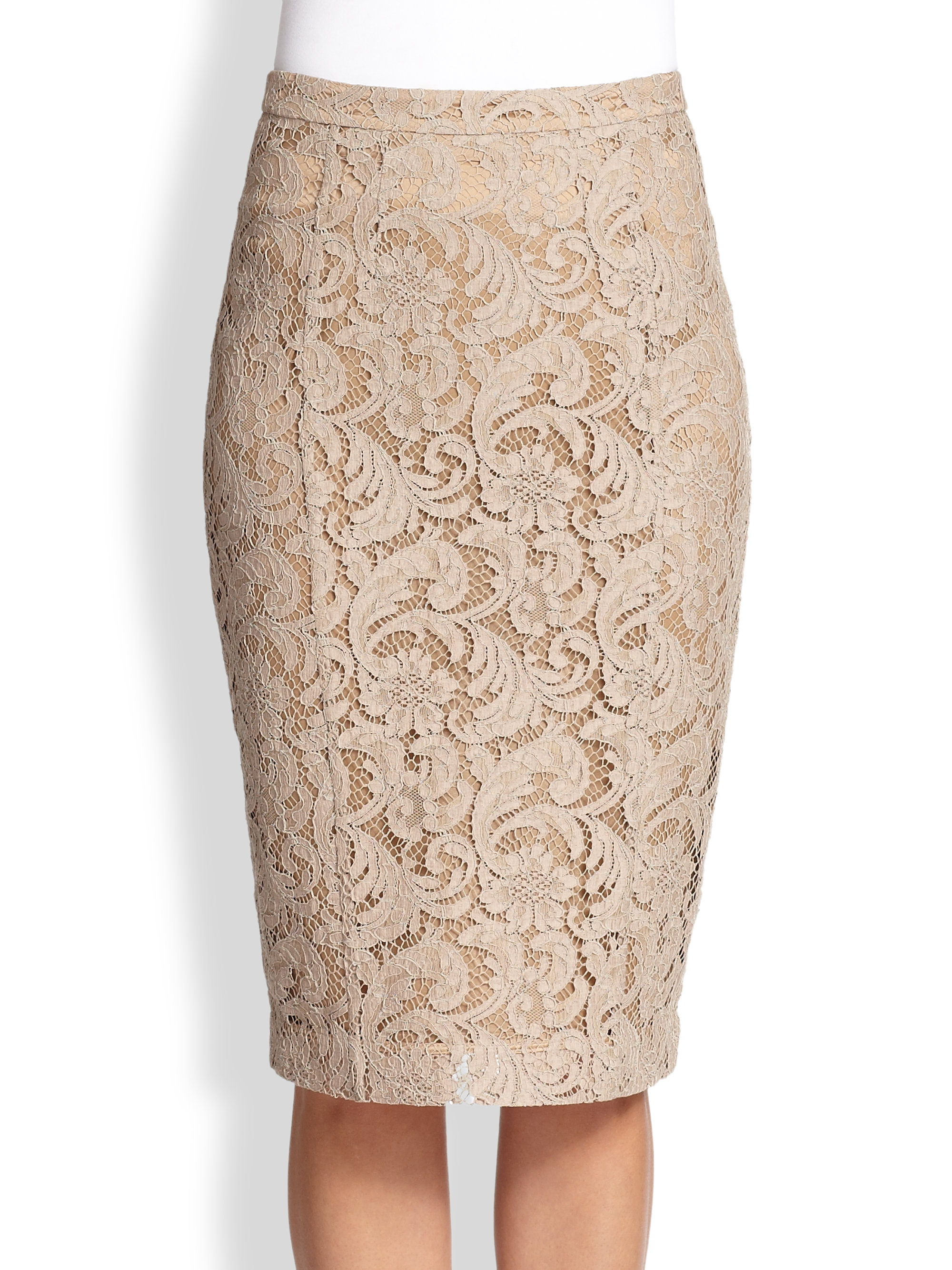 dc3a0785f5 Burberry Lace Pencil Skirt in Natural - Lyst