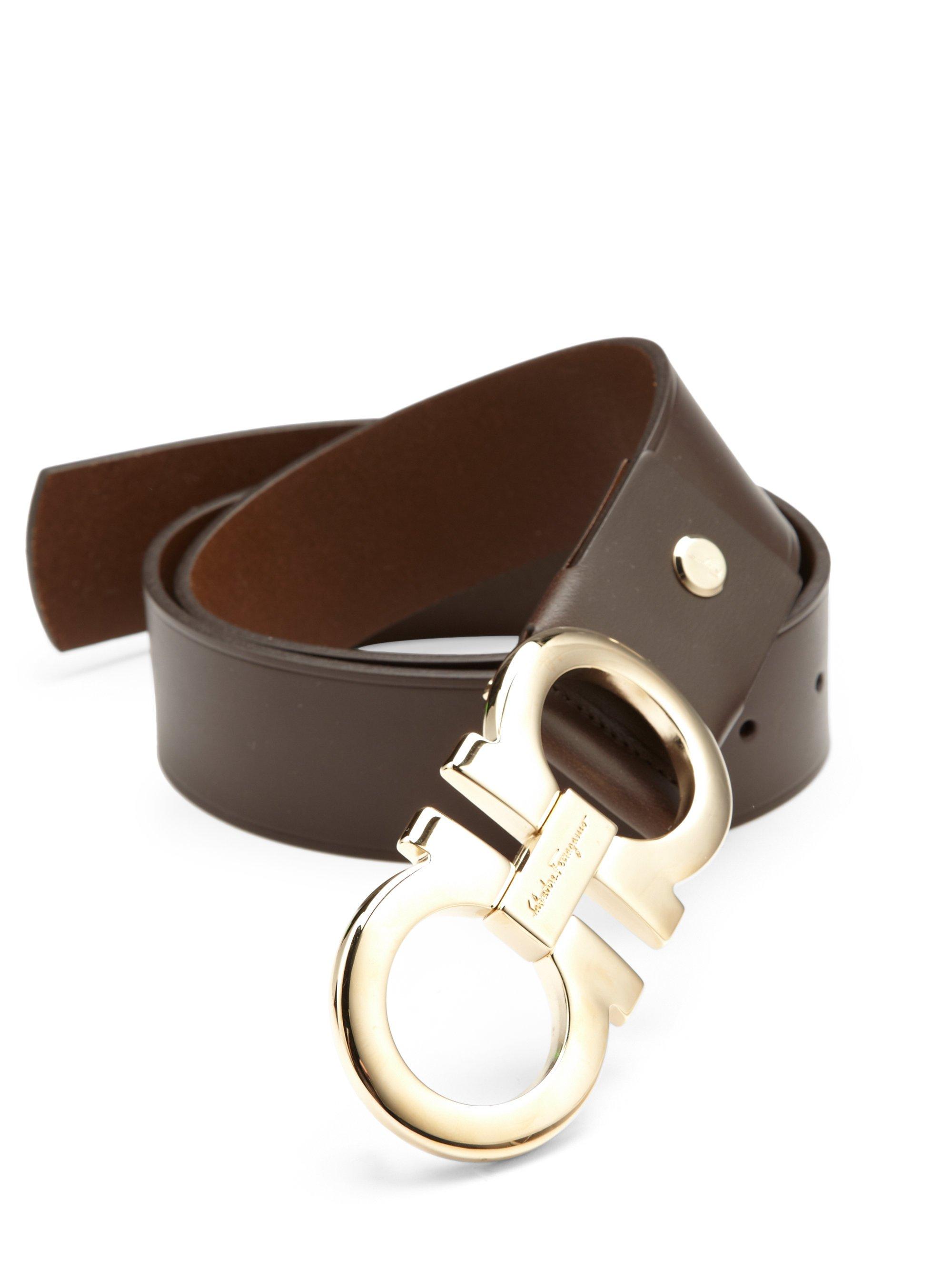 ferragamo gancini adjustable leather belt in brown