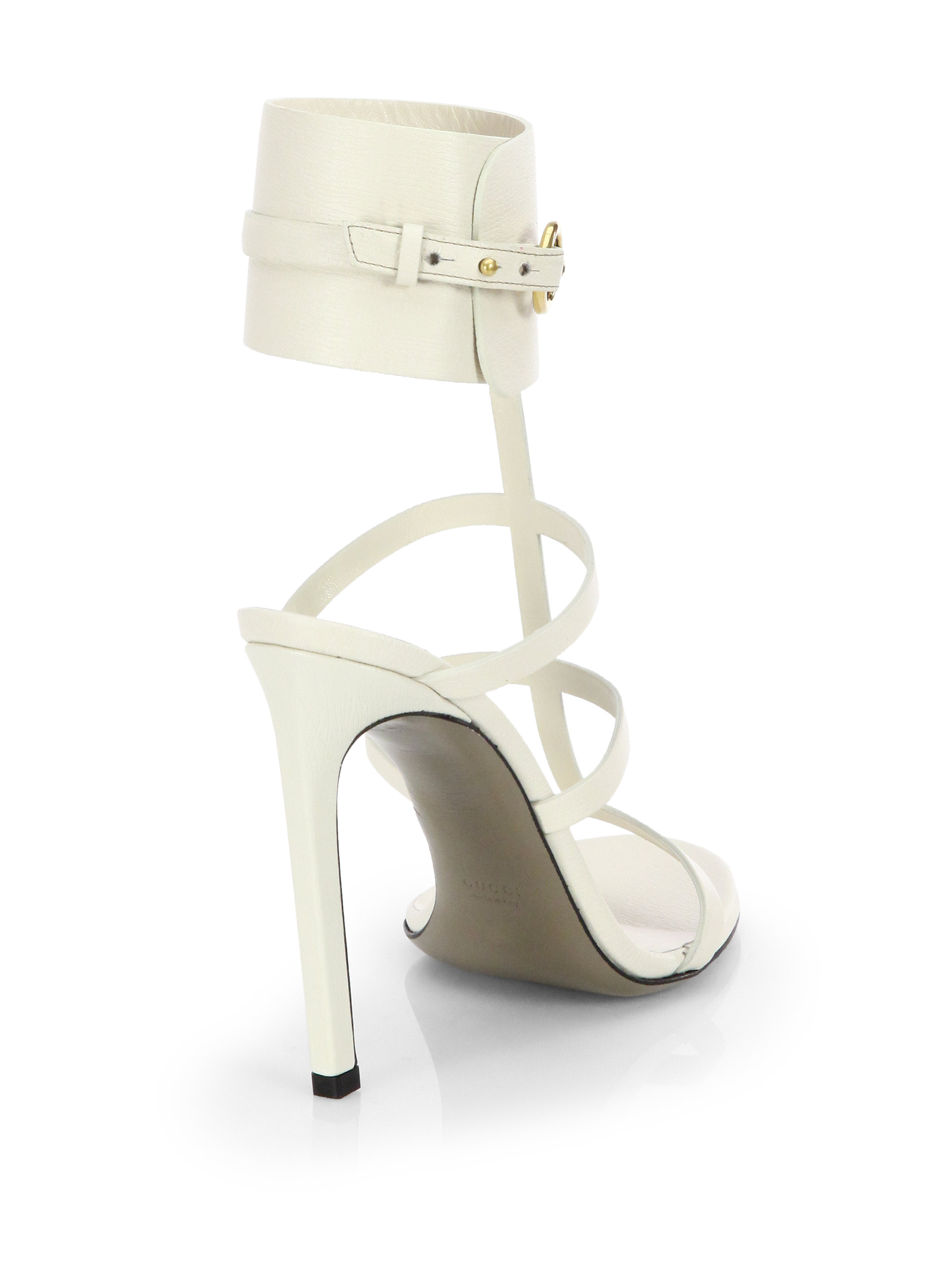 663498c1881 Gucci Ursula Leather Cage Sandals in White - Lyst
