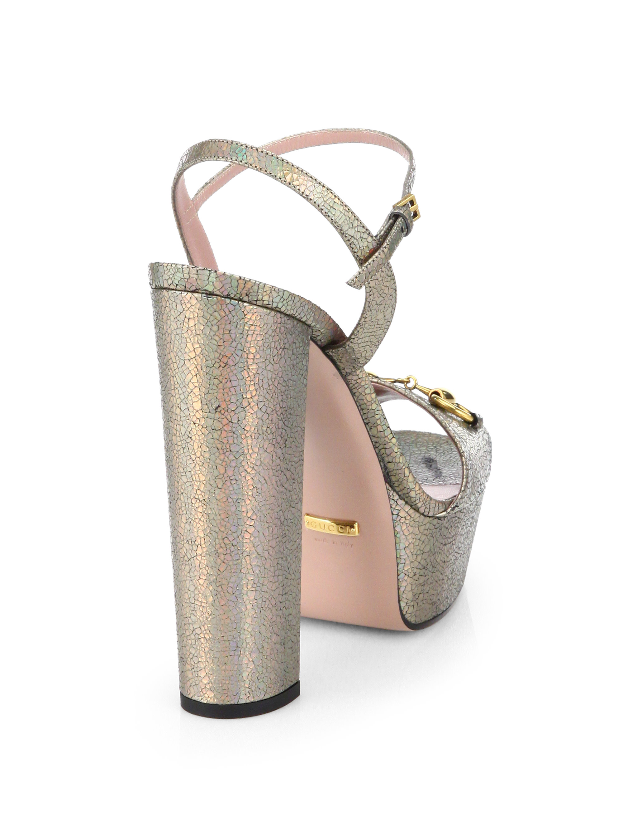 8768b33229c Lyst - Gucci Claudie Crackled Metallic Leather Platform Sandals in ...