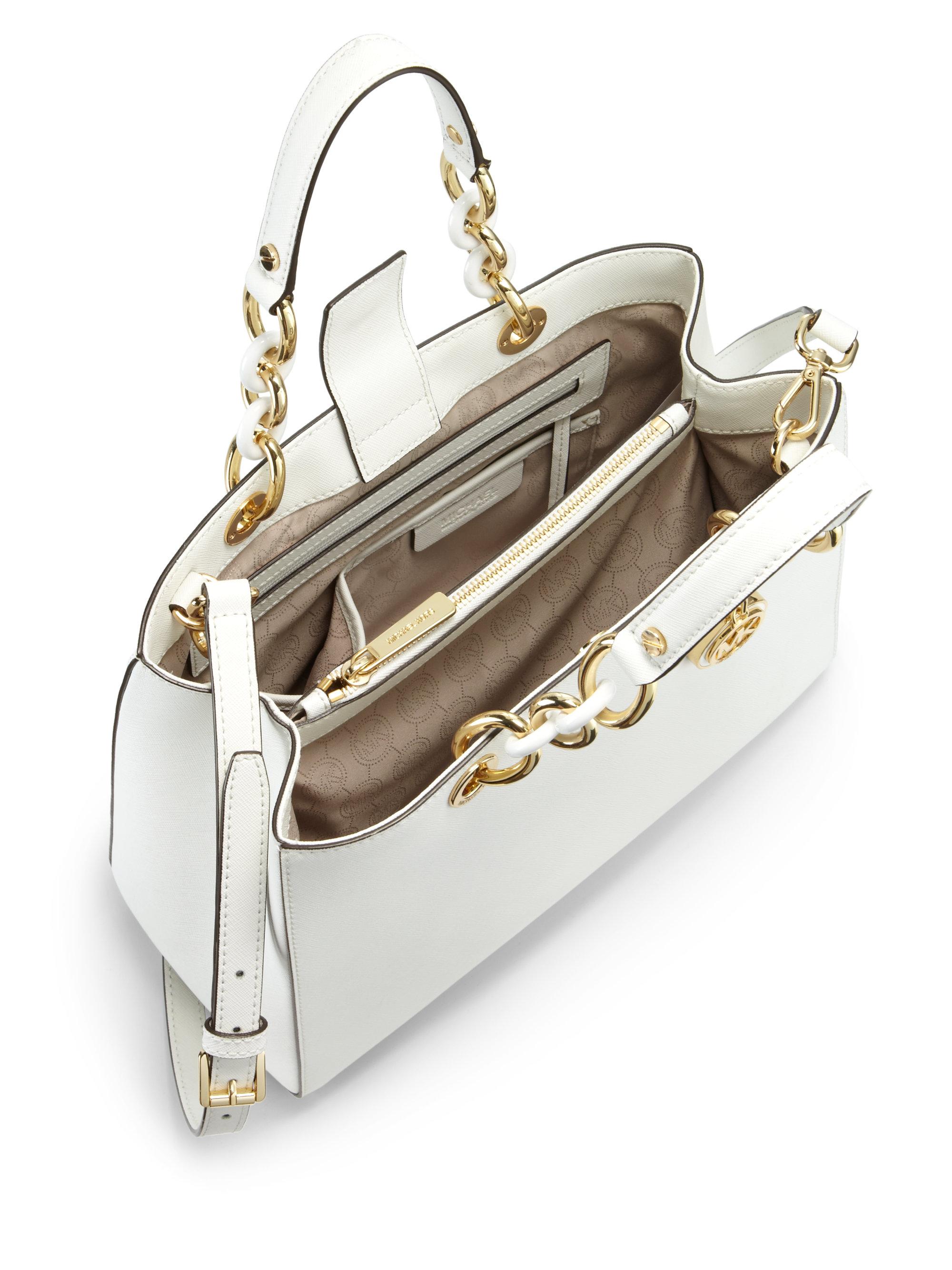 michael michael kors cynthia medium satchel in natural lyst. Black Bedroom Furniture Sets. Home Design Ideas