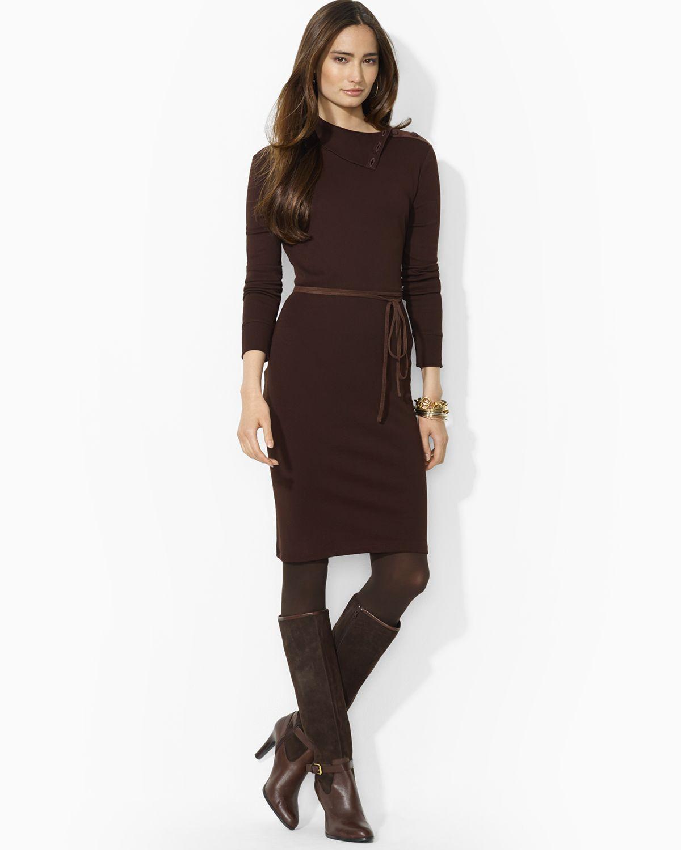Lyst Ralph Lauren Lauren Cotton Dress With Faux Suede