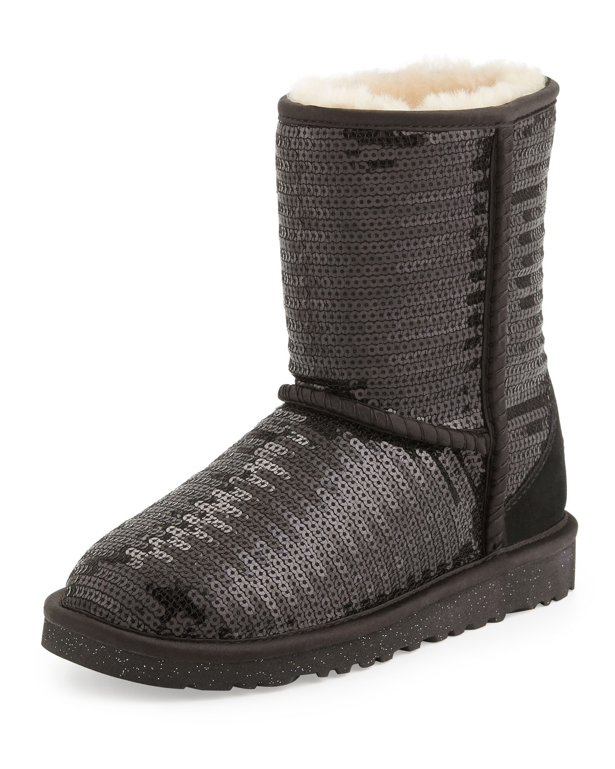 UGG Kids Sparkles Classic Short Boot Black 1y13y in Brown