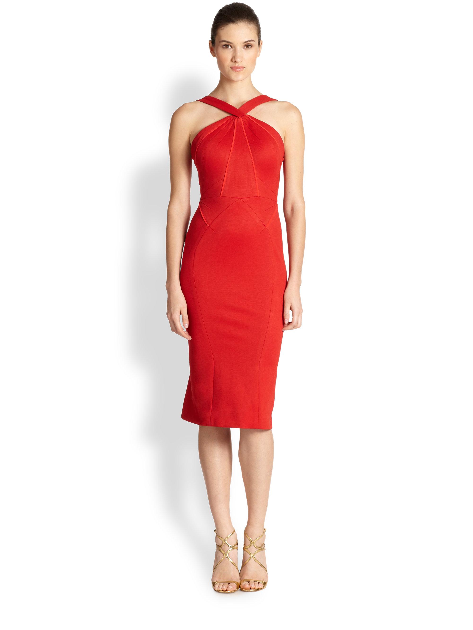 Lyst Zac Posen Binding Halter Dress In Red