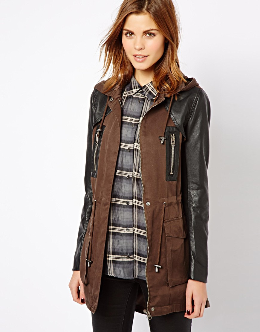 Asos Warehouse Color Block Parka in Brown | Lyst