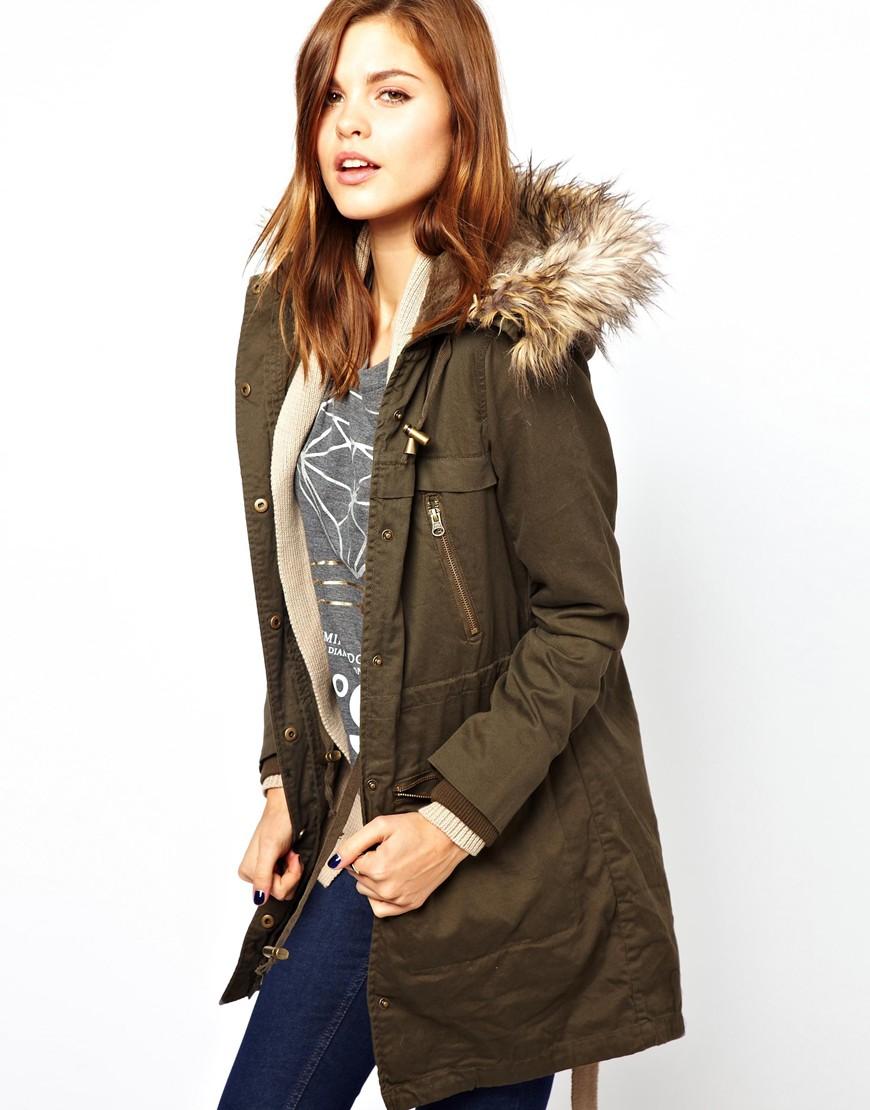 Asos Warehouse Detachable Faux Fur Parka in Natural | Lyst