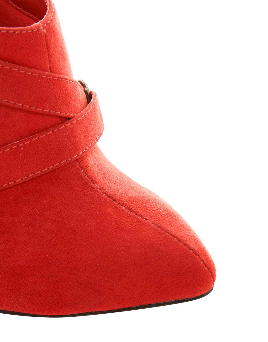 asos new look wide fit pointed buckle shoe boots in lyst