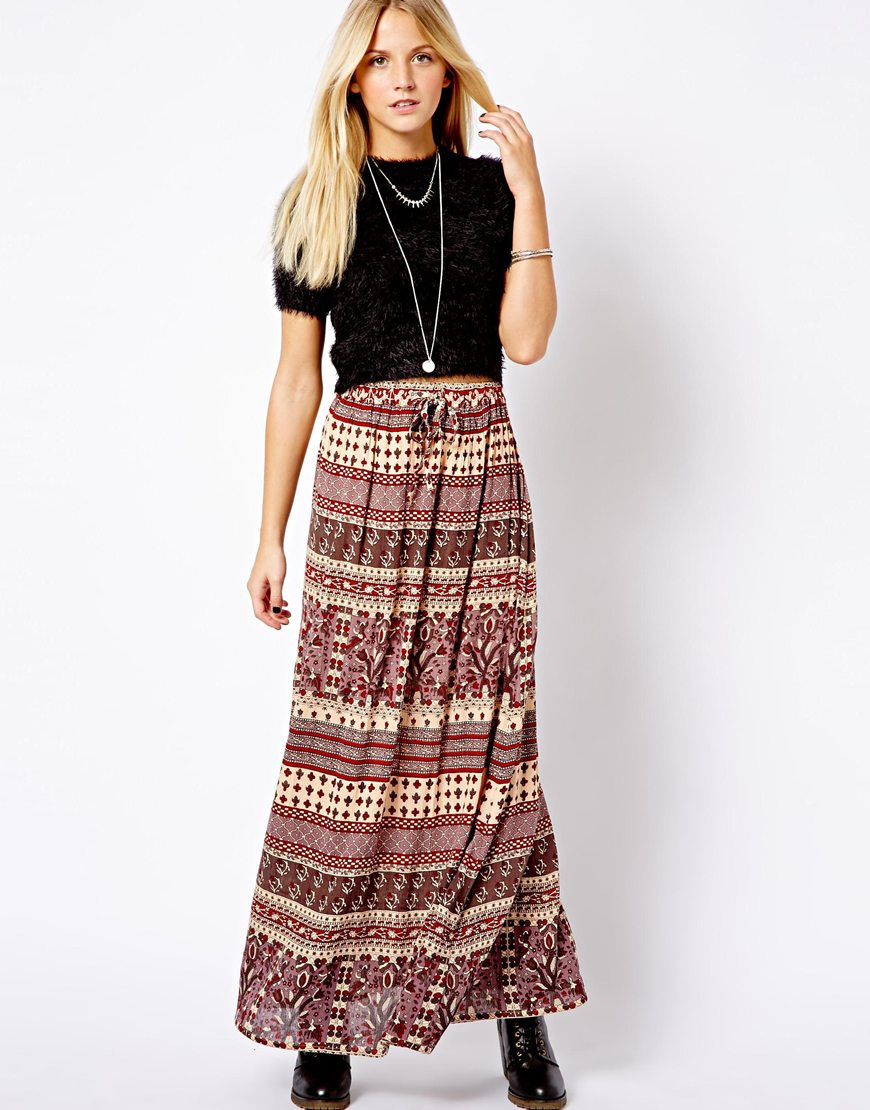 Printed Maxi Skirts - Skirts