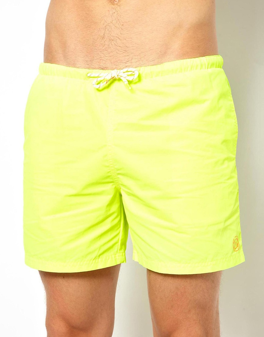 204eb91437 ASOS River Island Neon Swim Shorts in Yellow for Men - Lyst